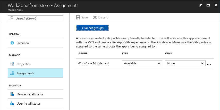 Publishing the WorkZone Mobile iOS app on Microsoft Intune